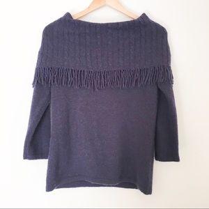 Marisa Christina Fringe Sweater Blue